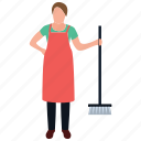 cleaning services, house cleaning, housekeeping, maid services, mopping girl icon