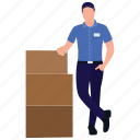 mall worker, logistics, cardboard delivery, packing boy, store worker