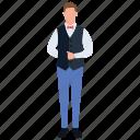 attendant, food server, restaurant waiter, waiter, waitperson icon