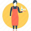 female receptionist, female waiter, hotel staff, waiting staff, waitress icon
