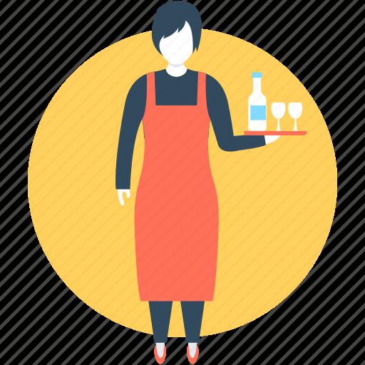 female receptionist, female waiter, hotel staff, waiting staff, waitress icon