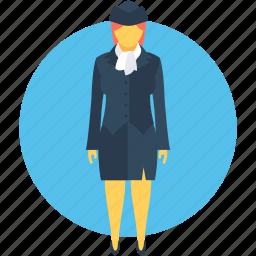 air hostess, flight attendant, hostess, steward, stewardess icon