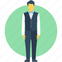 food service, hotel staff, male waiter, waiter, waiting staff icon