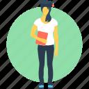 college student, female graduate, graduate, student, student avatar icon