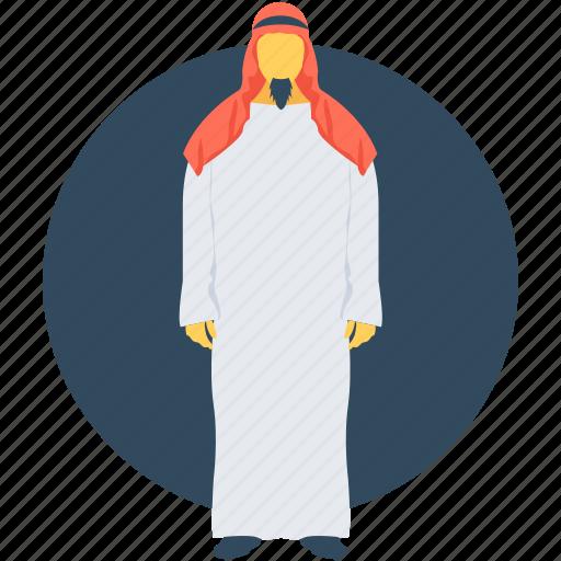 arabian, arabic, kandura, muslim, thobe icon