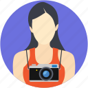 cameraperson, documentarian, female photographer, lens person, photographer icon