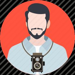 cameraman, documentarian, lensman, photographer, professional icon