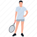physical game, player, racket game, racket player, team player icon