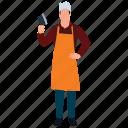 boner, butcher, meatmarket person, skinner, slaughterer icon