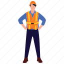 civil engineer, construction officer, construction planner, engineer, male employee icon