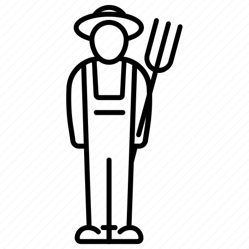 body, farm, farmer, hat, pitchfork, profession, worker icon