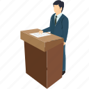 businessman, communication, conference, presentation, public speaker, teacher icon