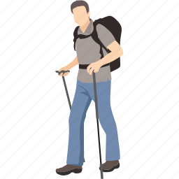 backpacking, hiker, man, mountain hiker, tourist, traveller, voyager icon