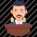 lawmaker, legislator, orator, politician, statesman