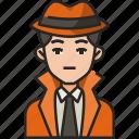 detective, spy, agent, man, crime, investigator, avatar
