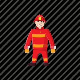 cartoon, firefighter, firemen, helmet, rescue, safety, uniform icon