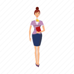 adult, business, cartoon, female, happy, pretty, suit icon