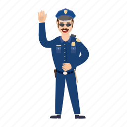 cartoon, man, officer, police, policeman, security, uniform icon