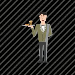 cartoon, food, man, person, restaurant, service, waiter icon