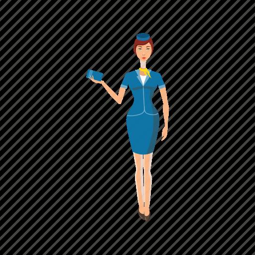 Airline, airplane, cartoon, flight, hostess, stewardess, uniform icon - Download on Iconfinder