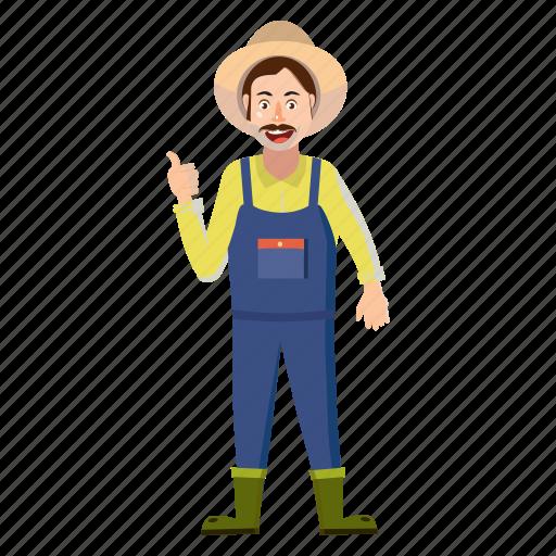 agriculture, cartoon, farm, farmer, farming, field, man icon