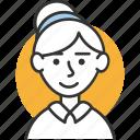 avatar, female, hair, profile, user icon, woman icon