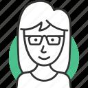 avatar, female, geek, hair, profile, user icon, woman icon