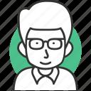 avatar, geek, hair, male, man, profile, user icon icon