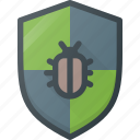 bug, programing, protect, protection, shield icon