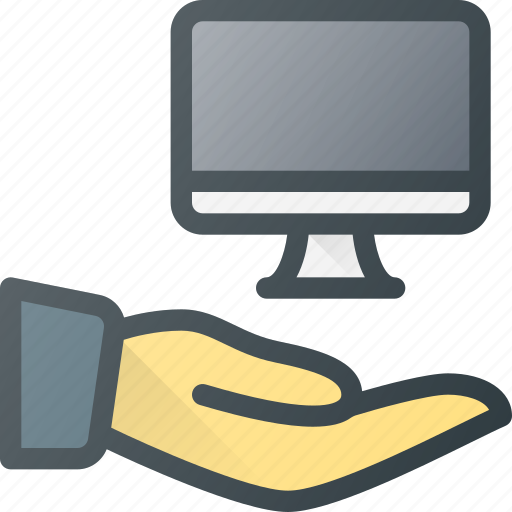 care, computer, hand, hold, protect, share icon