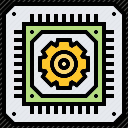 computer, cpu, microchip, processor, technology icon