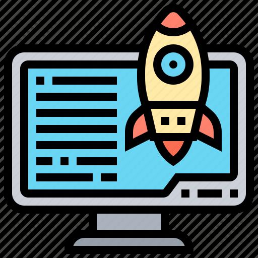 computer, database, hosting, rocket, sever icon