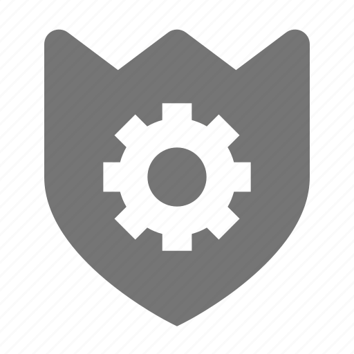 configuration, gear, security, settings, shield icon