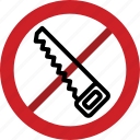 forbidden, hand, handsaw, prohibited, saw icon