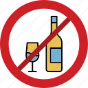 whiskey, prohibited, wine, alcohol, stop, forbidden, alcohol not allowed icon