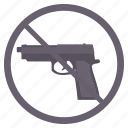 alert, attention, gun, no gun, no guns, no revolver, no weapon icon