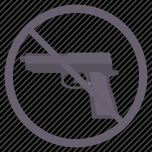 alert, attention, gun, no gun, no guns, no revolver, no weapon icon