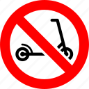 ban, no, prohibition, scooter, sign icon