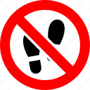 ban, foot, footprint, no, prohibition, sign, trace icon