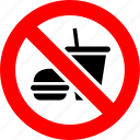 ban, fast food, no, prohibition, sign icon