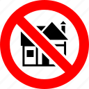 ban, house, no, prohibition, sign icon