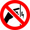 ban, electric shock, hand, no, prohibition, sign