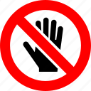ban, hand, no access, no entry, prohibition, sign, stop