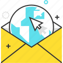 earth, email, globe, mailing, marketing, online icon