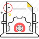 computer, configuration, content, gear, laptop, management, settings icon