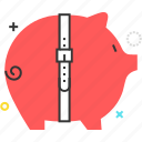 bank, belt, budget cut, pig, piggy, pink icon