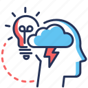 brainstorming, bulb, head, idea icon