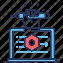 development, laptop, pencil, screw nut icon
