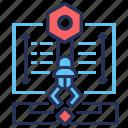 arrows, document, screw nut, technical project
