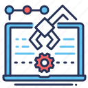 creation, gear, laptop, process icon